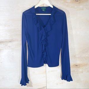 😍Lauren Ralph Lauren | Ruffle Button Down Shirt
